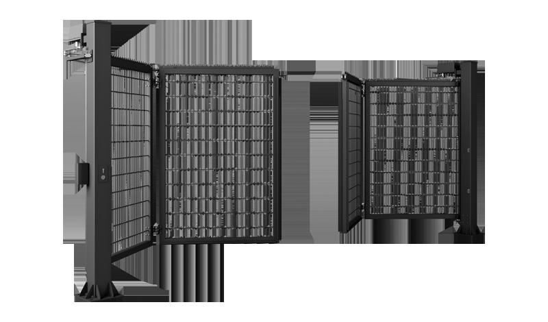 Tofløyet port med netting mesh seksjoner